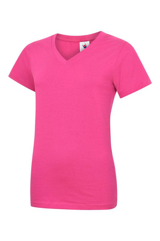 womans v neck t shirt UC319 hot pink