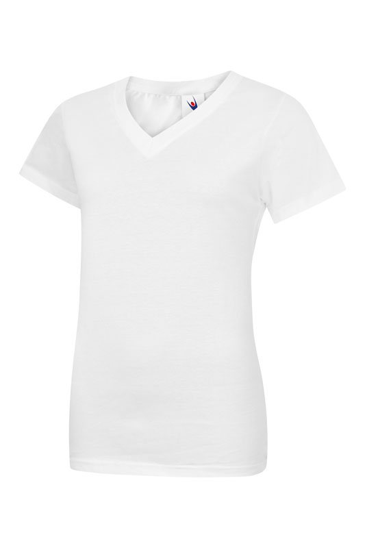 womans v neck t shirt UC319 white