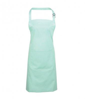 bib apron with pocket aqua