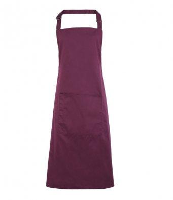 bib apron with pocket aubergine