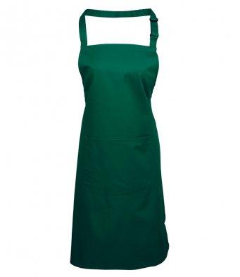 bib apron with pocket bottle green