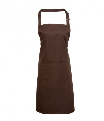 bib apron with pocket brown