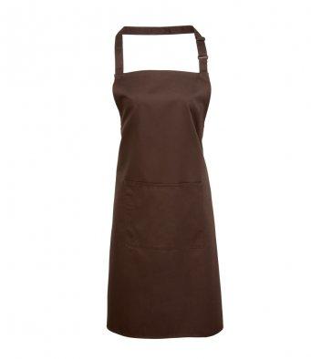 bib apron with pocket brown