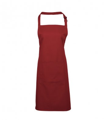 bib apron with pocket burgundy