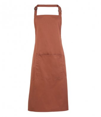 bib apron with pocket chestnut