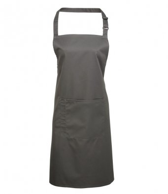 bib apron with pocket dark grey