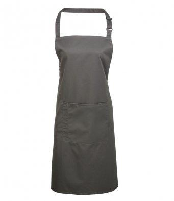 bib apron with pocket dark grey