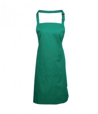 bib apron with pocket emerald