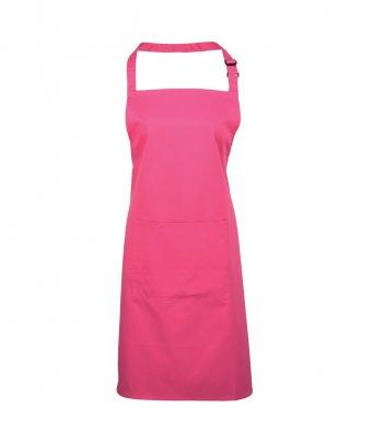 bib apron with pocket hot pink