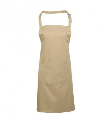 bib apron with pocket khaki