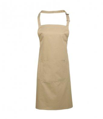 bib apron with pocket khaki
