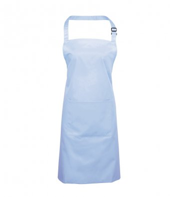 bib apron with pocket light blue