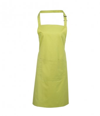 bib apron with pocket lime