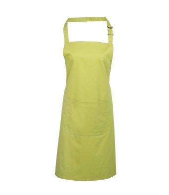 bib apron with pocket lime
