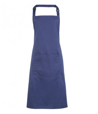 bib apron with pocket marine blue
