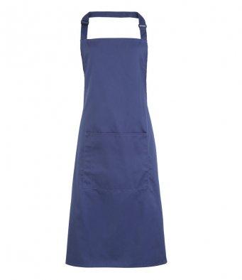bib apron with pocket marine blue