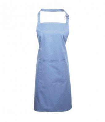 bib apron with pocket mid blue