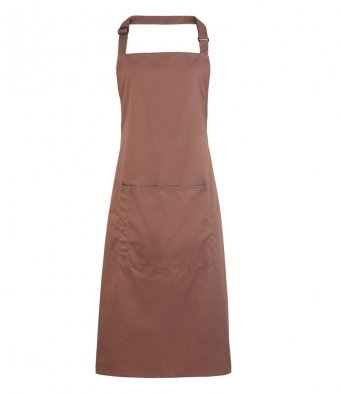 bib apron with pocket mocha