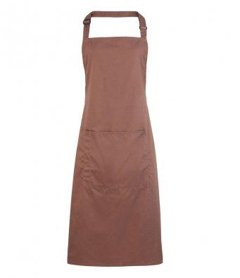 bib apron with pocket mocha