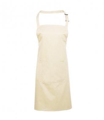 bib apron with pocket natural