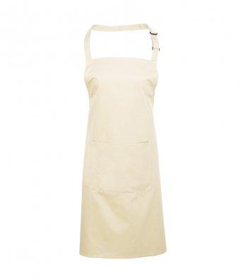 bib apron with pocket natural
