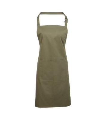 bib apron with pocket olive green