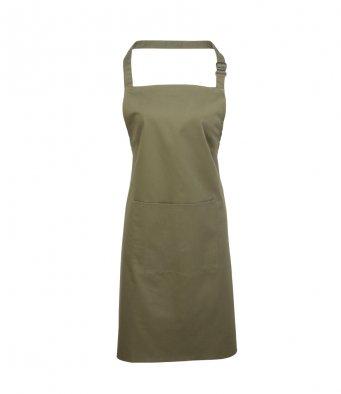 bib apron with pocket olive green