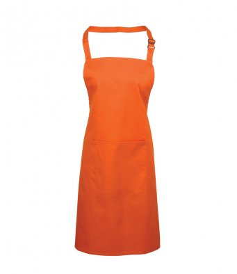 bib apron with pocket orange