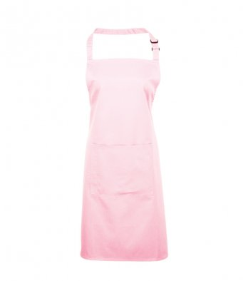 bib apron with pocket pink
