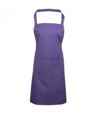 bib apron with pocket purple