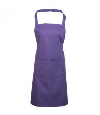 bib apron with pocket purple