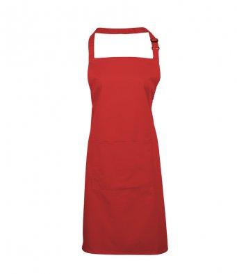 bib apron with pocket red
