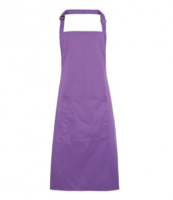 bib apron with pocket rich violet