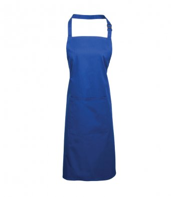 bib apron with pocket royal blue