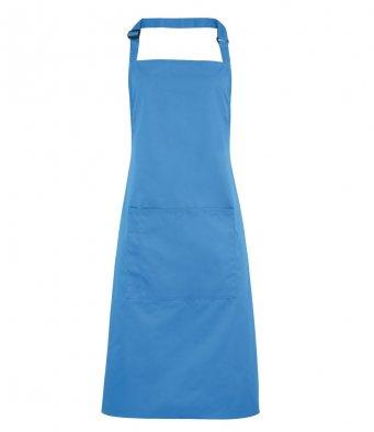 bib apron with pocket sapphire blue