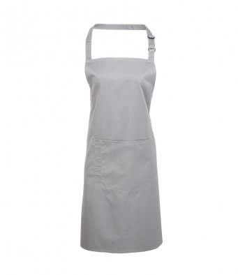 bib apron with pocket silver