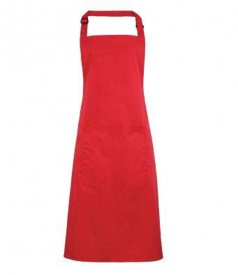 bib apron with pocket strawberry red