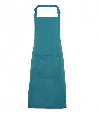bib apron with pocket teal