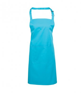 bib apron with pocket turquoise blue