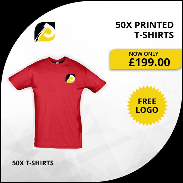 50x printed t-shirts